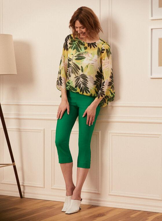Palm Leaf Print Blouse, Green