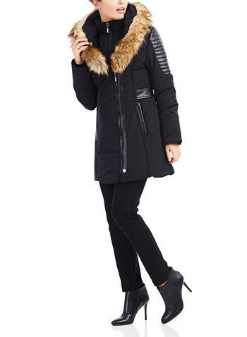 Manteau en polyfill avec simili fourrure, Noir, hi-res