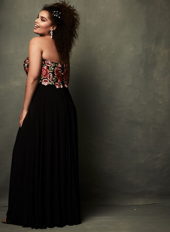Rose Embroidered Tulle Dress, Black, hi-res