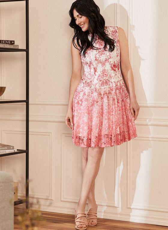 Lace Detail Floral Dress, White