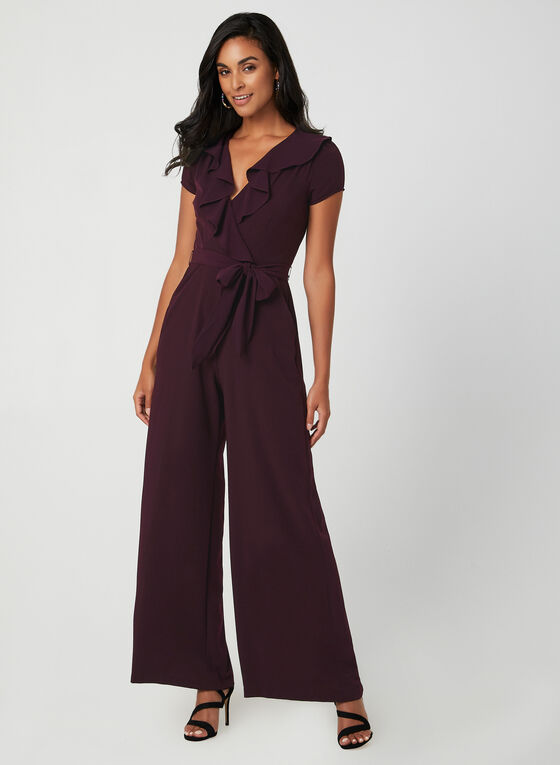 Ruffle Trim Jumpsuit, Red, hi-res