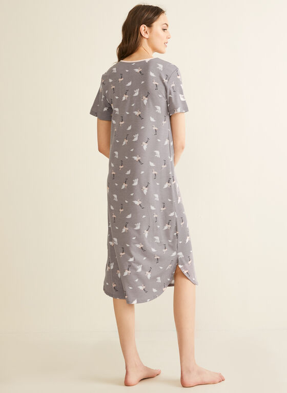 Comfort & Co. - Button Neck Nightgown, Grey