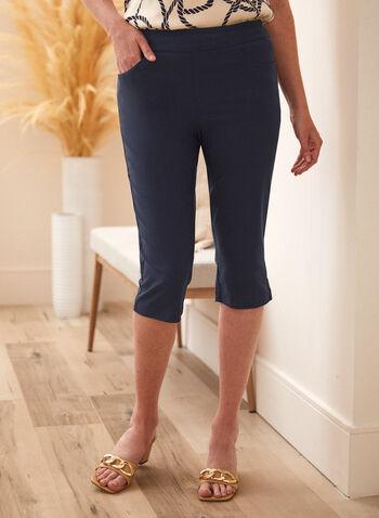 Capri à détail lacets croisés , Bleu,  printemps été 2021, capri, à enfiler, pull-on, poches, lacets, croisés, œillets, fait au canada