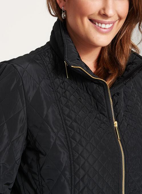 Diamond Quilted Hidden Hood Coat, Black, hi-res