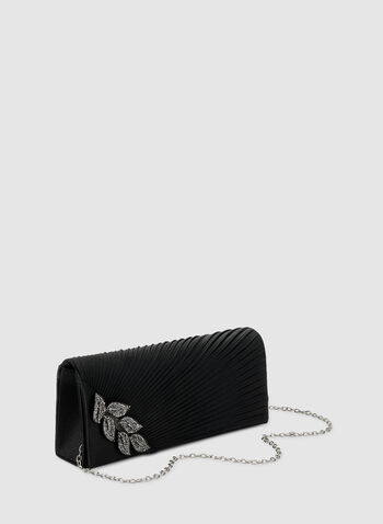 Pleated Satin Clutch, Black, hi-res,