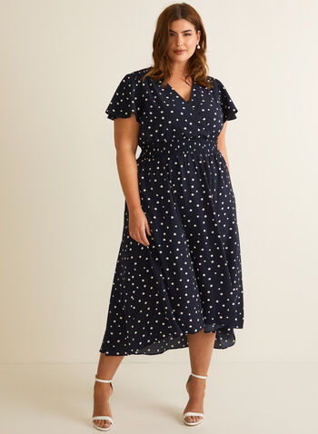 Polka-Dot Print Dress, Blue,  spring summer 2020, crepe, dot print, short sleeves