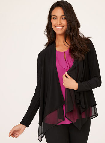Layered Open Front Cardigan, Black, hi-res