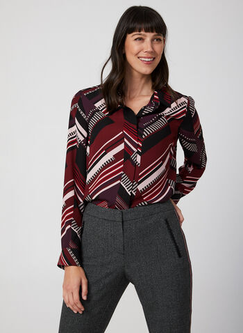 Abstract Print Blouse, Black, hi-res,  Fall winter 2019, long sleeve, button down, blouse