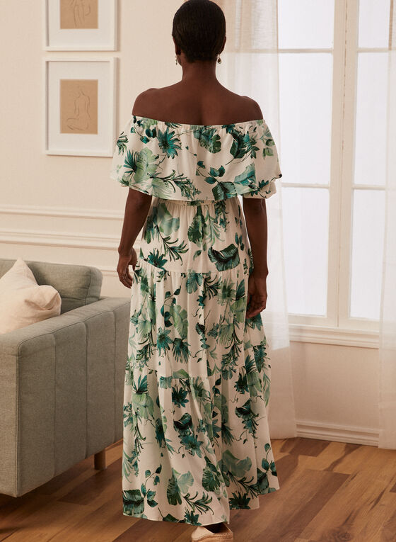 Robe maxi à motif feuilles de palmier, Blanc