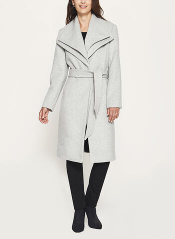 Wool Blend Wrap Coat, Grey, hi-res