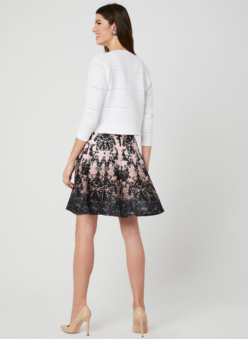 Nina Leonard - Ottoman Bolero, White,  Open front, knit, ¾ sleeves, spring 2019