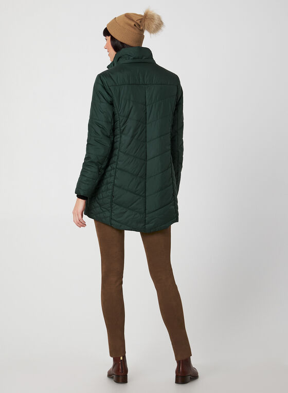 Faux Fur Trim Quilted Coat, Green