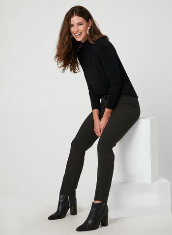 Pantalon coupe signature à carreaux, Brun, hi-res,  automne hiver 2019, pantalon, jambe droite, taille haute, motif, imprimé, carreaux