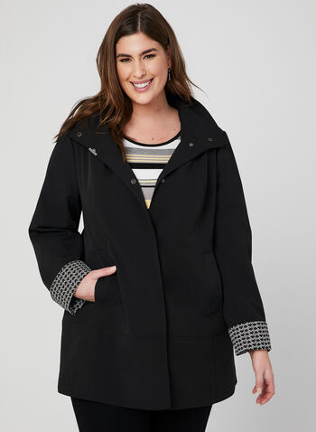 Hooded Raincoat, Black, hi-res