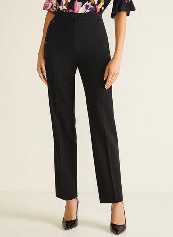 Pantalon coupe signature à jambe droite, Noir,  pantalon, signature, droit, poches, pinces, automne hiver 2020
