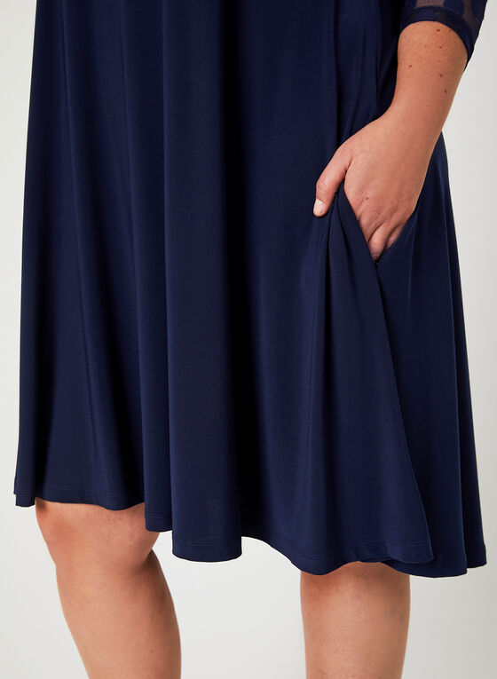 Nina Leonard - Yoke Neck Trapeze Dress, Blue, hi-res