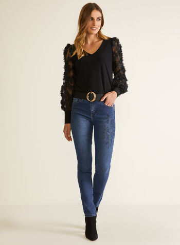Embellished Mesh Sleeve Top, Black,  top, long sleeves, puffed, bubble, chiffon, ruffle, trim, v-neck, fall winter 2020