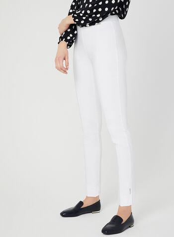 Pantalon coupe cité à jambe étroite, Blanc, hi-res,