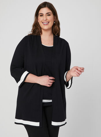 Flutter Sleeve Cardigan, Black, hi-res