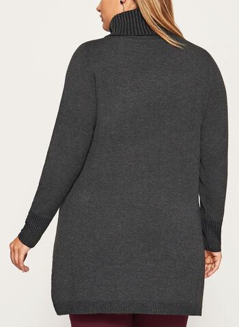 Faux Wrap Button Trim Turtleneck, Grey, hi-res