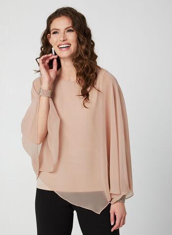 Blouse poncho en mousseline de soie, Rose,  blouse, poncho, mousseline, poignets ornementés, doublure sans manches, automne hiver 2019
