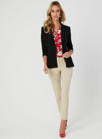 Floral Print Short Sleeve Blouse, Red, hi-res