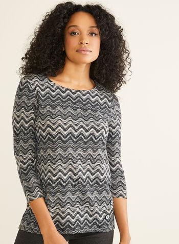 Missoni Stripe Print Top, Black,  canada, 3/4 sleeves, top, print stripe top, print top, missoni stripes, buttons, fall 2019, winter 2019