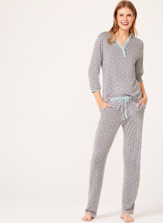 René Rofé - Floral Print Pajama Set, Grey, hi-res