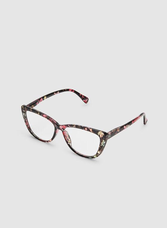 Floral Print Cat Eye Glasses, Black