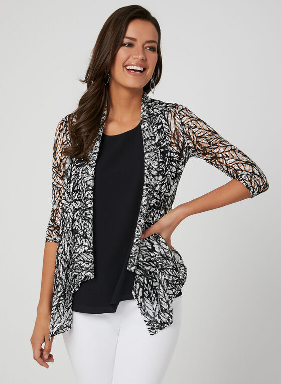 Open Front Crochet Top, Black, hi-res