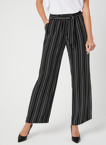 Pantalon rayé à jambe large, Noir,  pantalon, pull-on, jambe large, rayures, printemps 2019