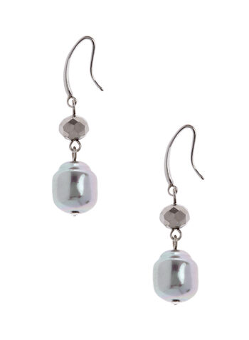Metallic Bead Dangle Earrings , Grey, hi-res