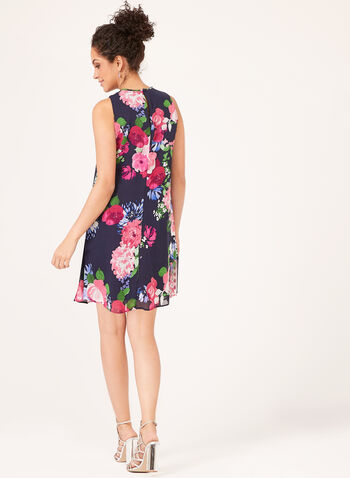 Jessica Howard – Sleeveless Floral Chiffon Trapeze Dress, Blue, hi-res