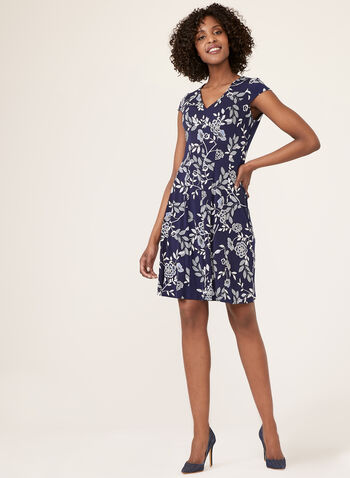 Fit & Flare Jersey Dress, Blue, hi-res