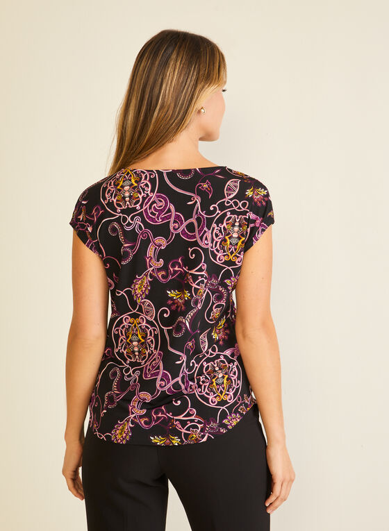 Paisley Print Cap Sleeve Top, Purple