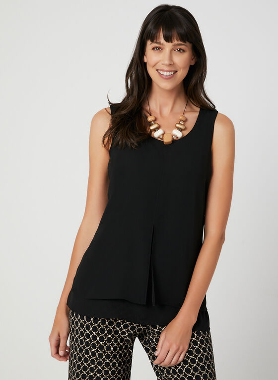 Sleeveless Crepe Top, Black, hi-res
