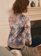 T-shirt fleuri à dentelle crochet au dos, Bleu