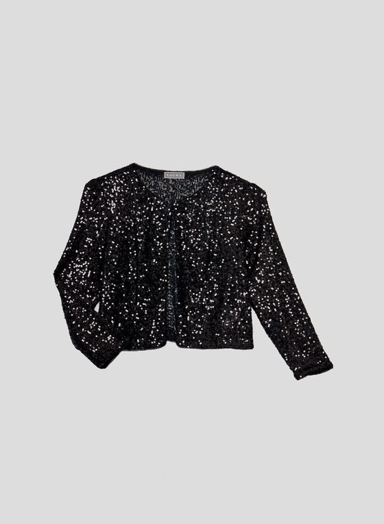 Sequined Mesh Bolero, Black, hi-res