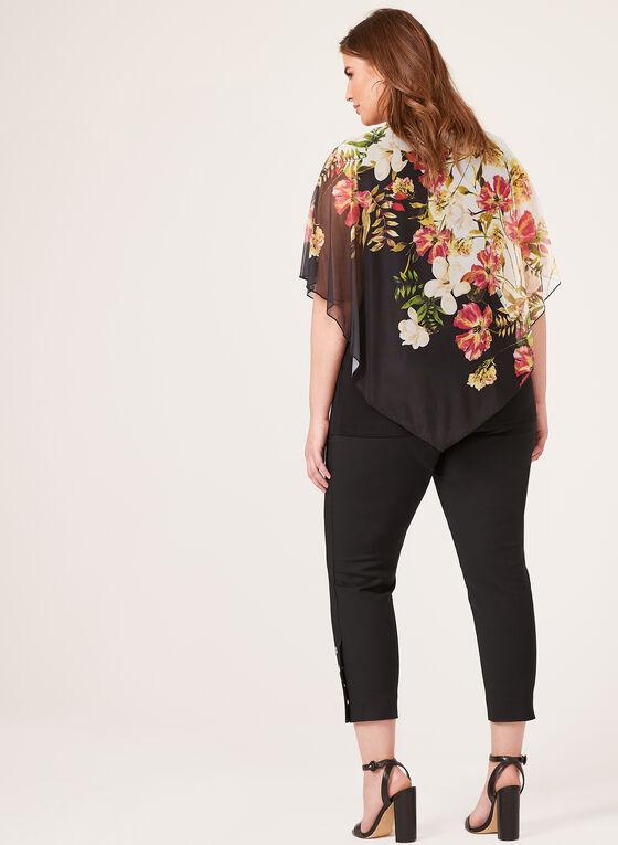 Blouse poncho à imprimé floral, Noir, hi-res