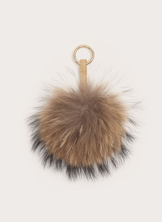 Porte-clés avec pompon en fourrure, Brun, hi-res