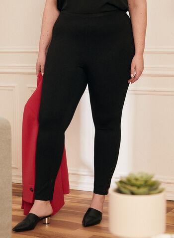 Legging à taille élastique, Noir,  printemps été 2020, pantalon, jambe étroite, legging, taille élastique, pull-on