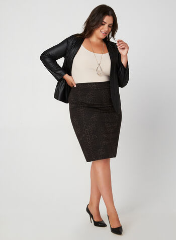 Leopard Print Straight Skirt, Black, hi-res,  skirt, leopard, straight skirt, fall 2019