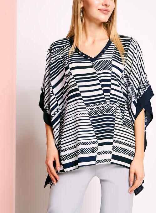 Stripe & Dot Print Poncho Blouse, Blue, hi-res