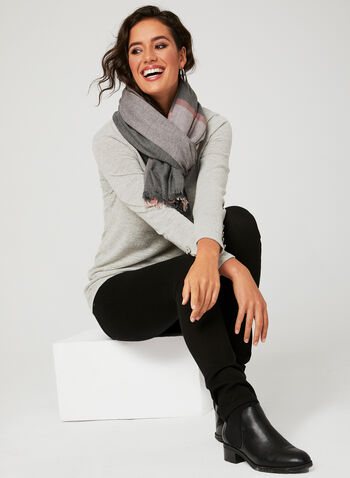 Cowl Neck Sweater, Silver, hi-res