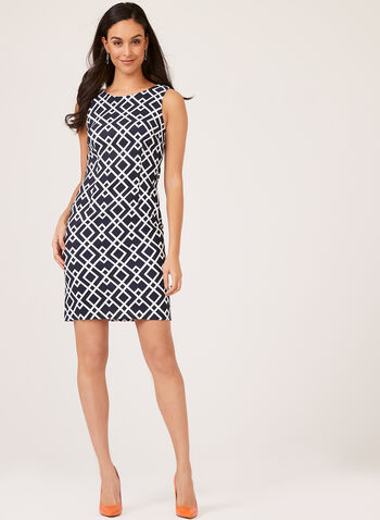 Sleeveless Geometric Print Sheath Dress, Blue, hi-res