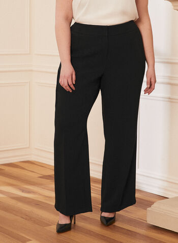 Modern Fit Wide Leg Pants , Black,  Spring Summer 2021, modern fit, mid rise, wide leg, faux pockets, pleated, made in Canada, zip front