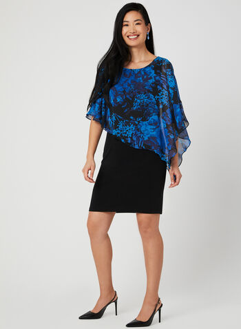 Floral Print Poncho Dress, Blue,  short sleeves, jersey, asymmetric, chiffon, spring 2019