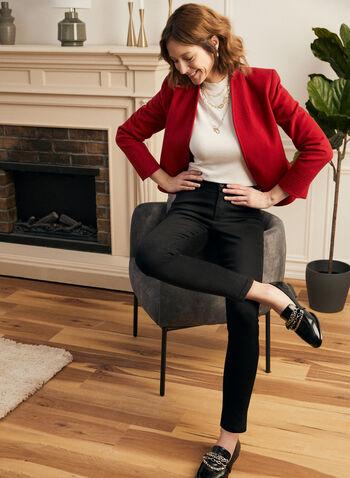 Louben - Blazer ouvert en cachemire , Rouge,  fait au canada, veste, blazer, cachemire, automne hiver 2021, coupe ouverte, structuré