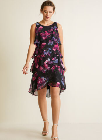 Ruffled Floral Dress, Black,  fall winter 2020, dress, ruffles, floral, flowers, print, patterns, pattern, sleeveless, lined, holiday