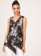 Floral Print Asymmetric Sleeveless Top, Black, hi-res